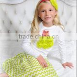 2015 Boutique Baby Girls Christmas Outfits Chiffon Christmas Tree Outfits with Chevron Skirt for Toddler Girls