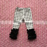 2016 hot sale cheap black dots icing pants with solid black ruffles icing pants