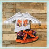 Newest Fall Sets Girls plastic easter eggs embroidery top and tutu skirt easter bunny costume