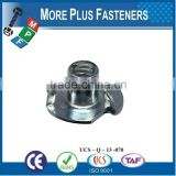 Made in Taiwan Standard Heavy Duty Three or Four Prong Tee Nuts with Internal Thread
