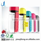 Plastic Sports Water shaker With Pill Box One Week Pill Organizer Drinking Bottle