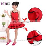 Children Girls Latin Dance Dress Kids Low Back Sexy Dance Practice Skirt Suit