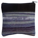 Indian Clutch Kantha Wallet Vintage Cotton And Leather Kantha Purse