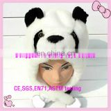 Custom high quality soft plush panda hats for kids
