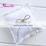 AR6802 White cotton flax ring pillow with lace wedding