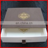 Coffee Chocolate Printing Color Drawer Box With Golden Stamping Logo