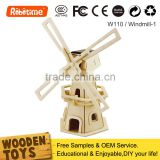 2014 New Educational 3D Wooden Building Puzzle Solar Power Windmill Toys