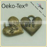 heart shape alloy labels and tags with antic brass color