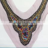 0518L hot sale Fashion Handmade rhinestone collar applique, V shape rhinestone applique collar,beaded rhinestone collar applique