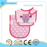 Hot sale! 100% cotton multi styles plain baby bibs with owl embroidered
