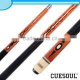 CUESOUL 1/2 Pool game Cue Stick, Maple Shaft,Quick Release,Rubber Wrap, with decal on butt