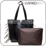 genuine leather hand bag fashion handbag design tassel tote bag with small cloth clutch for lady