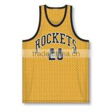 Wholesale mesh basketball jersey yellow color