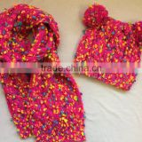 Novelty fancy metallic blended chunky yarn cable knitted beanie hat scarf for girls and ladies
