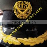 Uniform Officer Head Wear Bullion wire Hand Embroidred Visor Cap Cord Chin Strap Jugullers Cap Badge Beret Cap