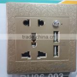 China alibaba gold figuratus usb power socket, usb data cable , socket with usb and switch