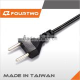 Middle east 2 pin black/white power cord with approval 100% made in taiwan fast delivery