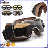 BJ-GT-011 Top Quality Adult Custom Coffee Leather Safety Spectacles Motocross Goggles