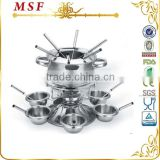 MSF set of chocolate fondue with 6 mugs and forks