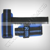Lifting Straps Padded with Neoprene, Blue & Black Webbing with Plastic Buckle, Velcro Closure