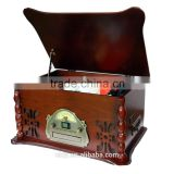 Portable Home Audio Wooden Retro Turntable 3 Speed AM/FM CD and Tape Player back to old times