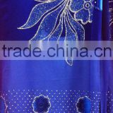 CL6303-1 royal blue new design Chiffon material with velvet crystal embroidreied 5 yard in one piece for making new design dress