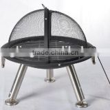 "30"" fire pit with stainless steel legs"