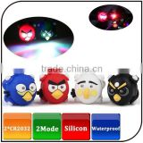 angry red white blue black bird shape adorable led silicone bike bicycle front rear light with CR2032 battery