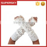 V-53 New design knitting pattern fashion winter long fingerless mitten gloves with lace trim crochet knit arm warmer