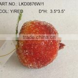 "2013 New Artificial Fake Fruits Christmas 3.5*3.5"" Artificial Sugar Pom With Glitter Christmas Tree Decoration"