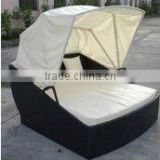 modern leisure outdoor wicker sun rattan lounge bed with canopy                                                                         Quality Choice