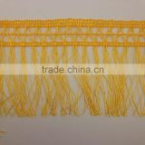 braid gold yellow poly chainette fringe trimming tassel fringing lace