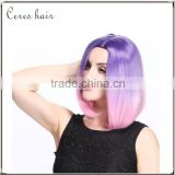 high temperature synthetic hair wig lace front ombre purple to pink wig for young lady                                                                         Quality Choice