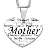 Everscribe Mother Engraved Family Names Heart Necklace Christmas vners pendant Manufacturer & Factory & Supplier