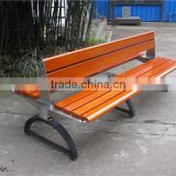 Outdoor wrought iron bench teak wood and stainless steel park bench