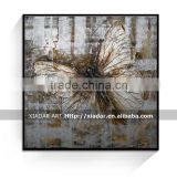 Modern abstract butterfly oil painting with thick textured