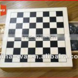 wood board game toy chess set with drawer to hold chessman