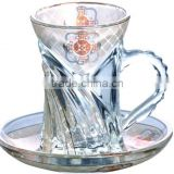 Decal designed glass tea cups and saucers set                                                                         Quality Choice