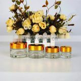10g empty round transparent facial cream glass cosmetic bottle/horse oil cream jar with shiny gold/sliver aluminum lid