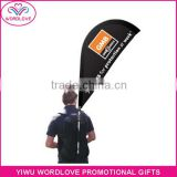 hot sell 110g knitted polyester printed street walking advertising custom backpack teardrop banner