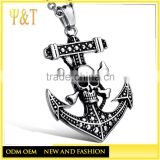 China factory casting one piece symbol skull anchor pendants, silver ship anchor pendants(QD-090)