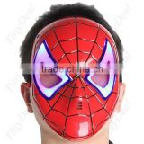 Wholesale SPIDERMAN MASK- LED FLASHING LIGHTS GLOWING EYES-COSTUME/ Spider Man Mask with Blue LED Eyes Make up Kids Boys