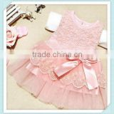 Baby girl wedding dress wholesale pink lace design perfect present for little princess birthday dresses with bow