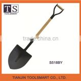 Many different types of high quality steel forged garden shovel with wooden shovel handle