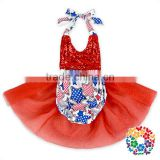 2017 Newest Fourth Of July Baby Girls Tutu Romper Plain Red Sequin Baby Tutu Romper Wholesale Toddlers Tieback Rompers Clothes