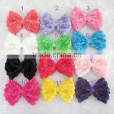 CF0018 New designs samll ruffle rose rossete bow for hair clip decoration.