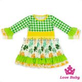 Top Selling Boutique Stitching Long Sleeve Printed Ruffle Cute Girls Dress Names With Pictures Baby Frocks Designs