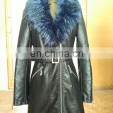 New Ladies' Fashion Soft PU Leather Jacket Faux Leather Jacket Winter Jacket Long PU Jacket with Fur Collar