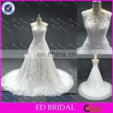 LN10 2016 Lastest Designs China Supplier Reliable Manufacture See Through Back Real Sample Picture Wedding Gown