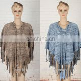 winter V-vest knitted ponchos with long fringe bule models coat girls stylish knitted pullover sweater